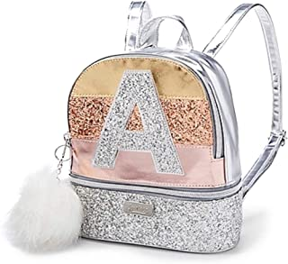 Justice Girls Silver Rose Gold Glitter Stripe Initial Mini Backpack