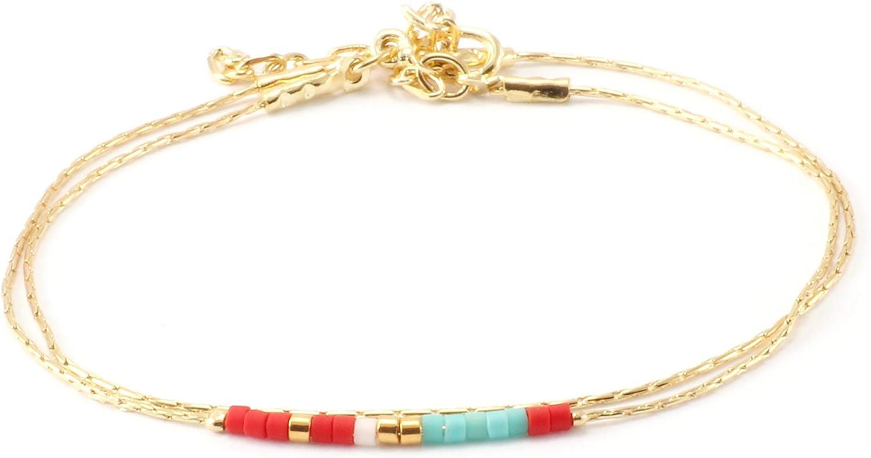 Soulink Handmade Stone Seed Bead Bracelet Boho Dainty Friendship Adjustable Bracelet Jewelry for Women
