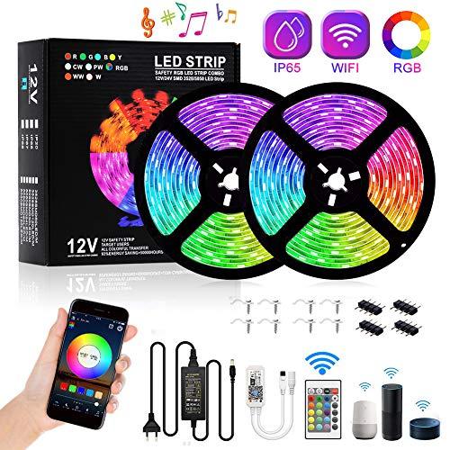 WIFI LED Streifen 10M,RGB LED Stripes WiFi LED Bänder 16 Millionen Farben, Sync mit Musik, SMD5050 IP65 mit Fernbedienung, Kompatibel mit Alexa, Google Home, Echo, IFTTT, Elitlife [Energieklasse A+]