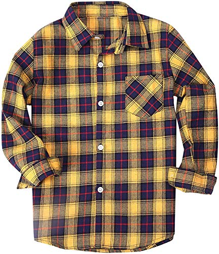 Little Boys' Button Down Check Plaid Flannel T Shirt Blouse Tops, Yellow, Age 4T-5T (4-5 Years) = Tag 120