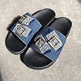 LJJYF Zapatillas de Estar por Casa de Mujer/Hombre de,Sandalias de Mezclilla artesanales de Verano Zapatillas Planas con Botones Planos XL-azul-EU38