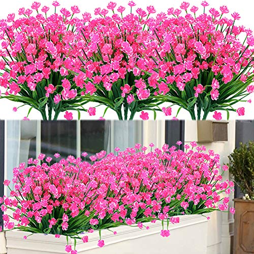 ArtBloom 8 Bundles Outdoor Artificial Fake Flowers UV Resistant Shrubs Plants, Faux Plastic Greenery for Indoor Outside Hanging Plants Garden Porch Window Box Home Wedding Farmhouse Decor (Pink)