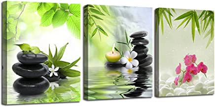 Ardemy Canvas Wall Art Prints Zen Spa Pictures 3 Panels, Modern Orchid Black Stones Paintings Framed Massage Treatment Artwork for Bedroom Spa Salon Bathroom Living Room Wall Decor 12