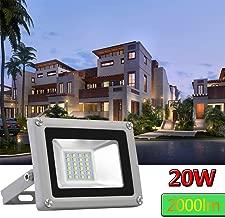 Younar 20W Outdoor LED Flood Light,2000lm Super Bright Security Lights, 6000K Daylight White, IP65 Waterproof Outdoor Landscape Floodlight for Lawn, Playground, Yard, Garden Garage(110 V)