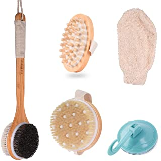 5 Piece Dry Brush Set, Long Handle Bath Brush, Bath Glove Exfoliates and Revives Dry Winter Skin, Round Head Body Dry Skin Brushes Reduces Cellulite, Elliptical massager Promotes Lymphatic Flow