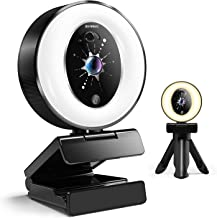 2K Webcam with Microphone and Ring Light, 4-Level Adjustable Brightness, Plug and Play Streaming Webcam with Privacy Cover...