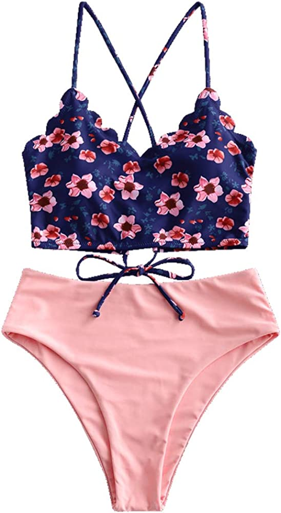 ZAFUL Women's Leaf Print Ranking TOP9 Lace Up Waisted Tankini High Ruched Set Quantity limited