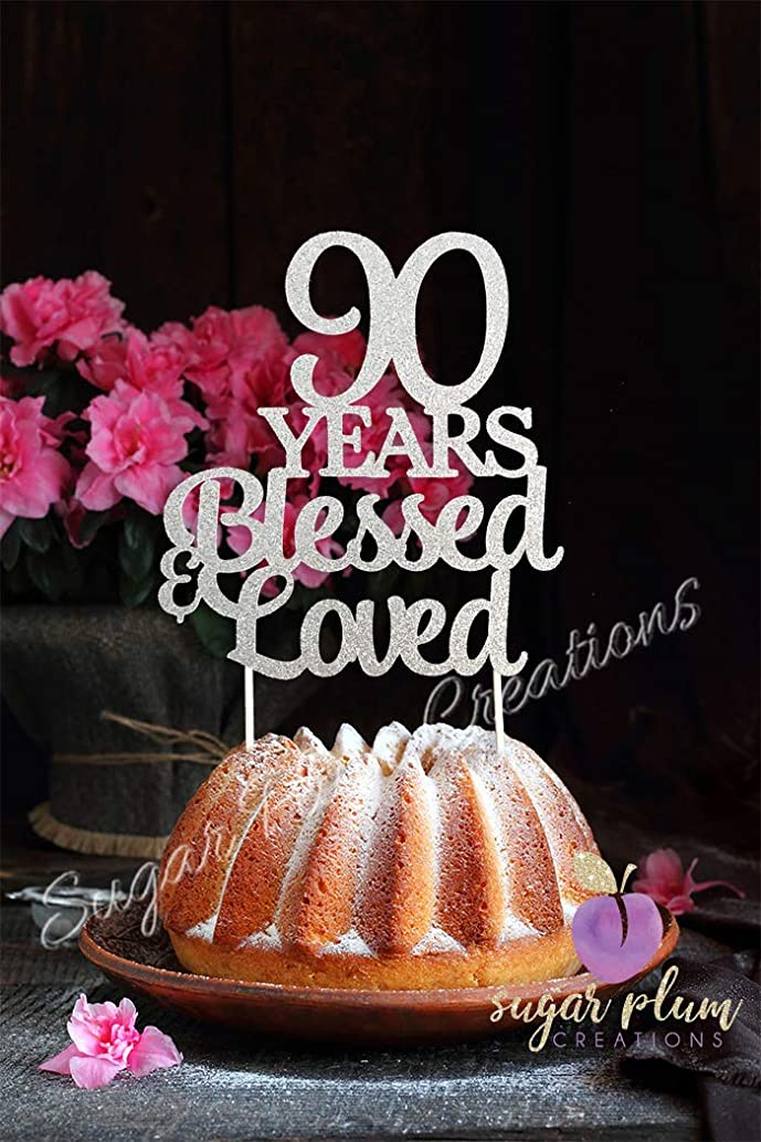 90 Years Blessed & Loved, Silver Glitter