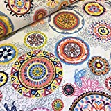 Kt KILOtela Tela de loneta Estampada - Retal de 100 cm Largo x 280 cm Ancho | Mandalas Maya - Multicolor, Blanco ─ 1 Metro