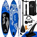 Kesser® Aufblasbare SUP Board Set Stand Up Paddle Board | 320x76x15cm 10.6' | Premium Surfboard Wassersport | 6 Zoll Dick | Komplettes Zubehör | 130kg, Blau