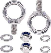 Swpeet 8Pcs 304 Stainless Steel M16 Male Thread Lifting Ring Eye Bolt Kit, Including 2Pcs M16 Eye Bolt with 2Pcs Lock Nuts, 2Pcs Lock Washers and 2Pcs Flat Washers
