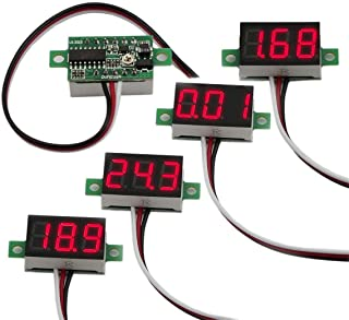 "bayite Pack of 5 Three-Wire Calibratable DC 0~30V Red Digital Mini Voltmeter Gauge Tester Mount Car Motorcycle Battery Monitor Volt Voltage Meter 0.36"" Red LED Display Panel"