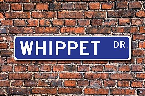 Fhdang Decor Whippet, Whippet Cadeau, Whippet Sign, lévrier Décor, lévrier Lover, Greyhound Terrier Mix, Speedy, Plaque de Rue personnalisée, Plaque en métal, 10,2 x 45,7 cm