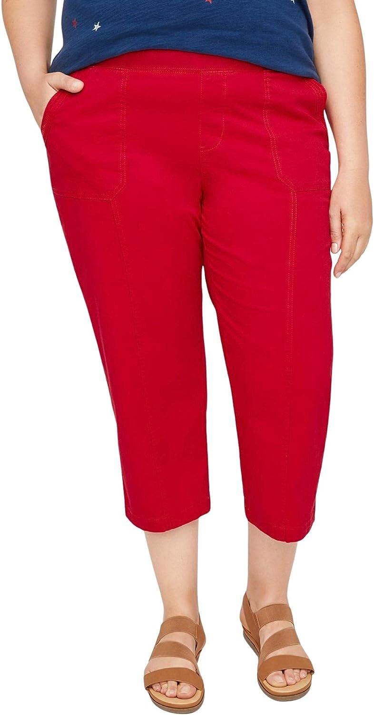 Catherines Women's Plus Size Knit Waist Cargo Capri
