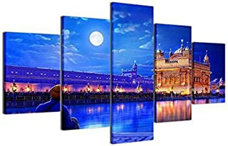 [LARGE] Premium Quality Canvas Printed Wall Art Poster 5 Pieces / 5 Pannel Wall Decor Golden Temple Drawing Painting, Home Decor Pictures - With Wooden Frame(60