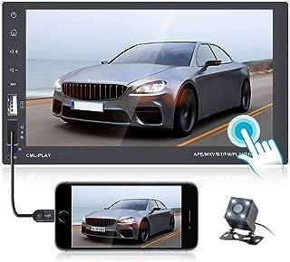 OiLiehu Android Doppel Din Autoradio Bluetooth 7 Zoll HD Touchscreen Radio FM Empfänger Unterstützung GPS Navigation, WiFi Verbindung, Lenkradsteuerung, Spiegelverbindung, DVR Eingang + Rückfahrkamera