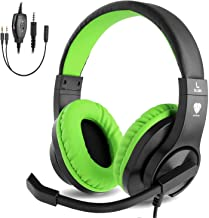 BlueFire Auriculares Gaming con Microfono para PS4 PC Xbox one, Cascos Gaming con Bass Surround Cancelacion Ruido,Diadema Acolchada y Ajustable,Microfono Unidireccional (Verde)