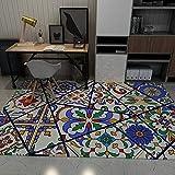 CMwardrobe Moderno Alfombra Antideslizantes Pelo Corto Rug Estilo étnico Lila Púrpura Azul Colorido Patrón Abstracto Salón Dormitorio Moqueta 80×120CM(2ft7 x3ft11)