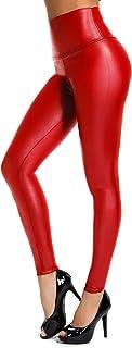 INSTINNCT Damen Kunstleder High Waist Leggings Skinny PU Leder Hose Leder-Optik Strumpfhosen Treggings