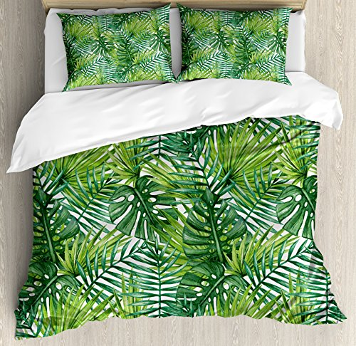 Ambesonne Leaf Duvet Cover Set, Tropical Exotic Banana Forest Palm Tree Leaves Watercolor Design Image, Decorative 3 Piece Bedding Set with 2 Pillow Shams, Queen Size, Jade Green