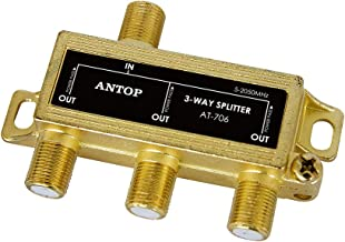 ANTOP 3-Way TV Signal Splitter with Low-Loss for TV Antenna and Satellite 18K Gold-Plated Chassis 2GHz - 5-2050MHz All Port DC Power Passing - Pack of 1 Unit