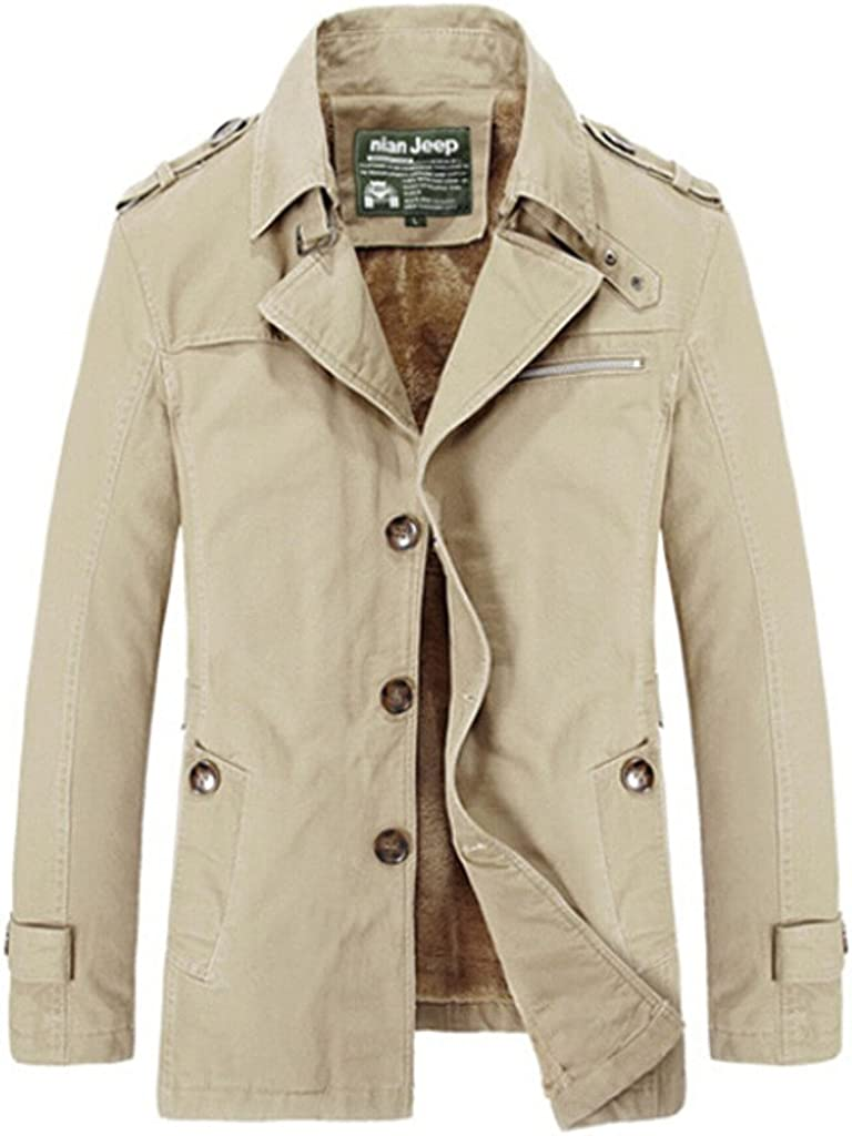 Nothar Outstanding Men's Cotton Lapel Classic Jacket Coat Pea Outcoat Direct sale of manufacturer