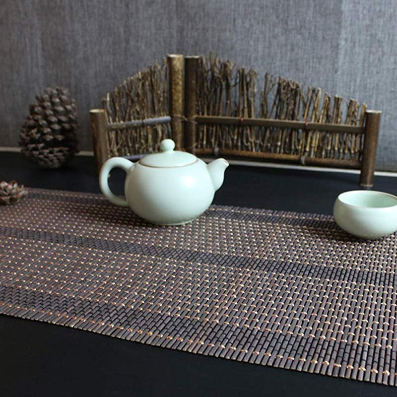 Table Flag Heat Resistant Bamboo Table Runners For Dining Table Everyday Use Japanese Style Hand Woven Roll Placemats Size 30x80cm