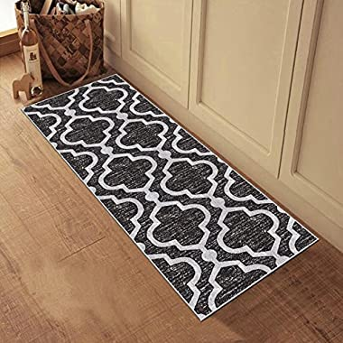 Kapaqua Rubber Backed 22  x 48  Small Runner Rug ANTHRACITE BLACK Moroccan Trellis Non-Slip Kitchen Bathroom Entryway Hallway 2x4