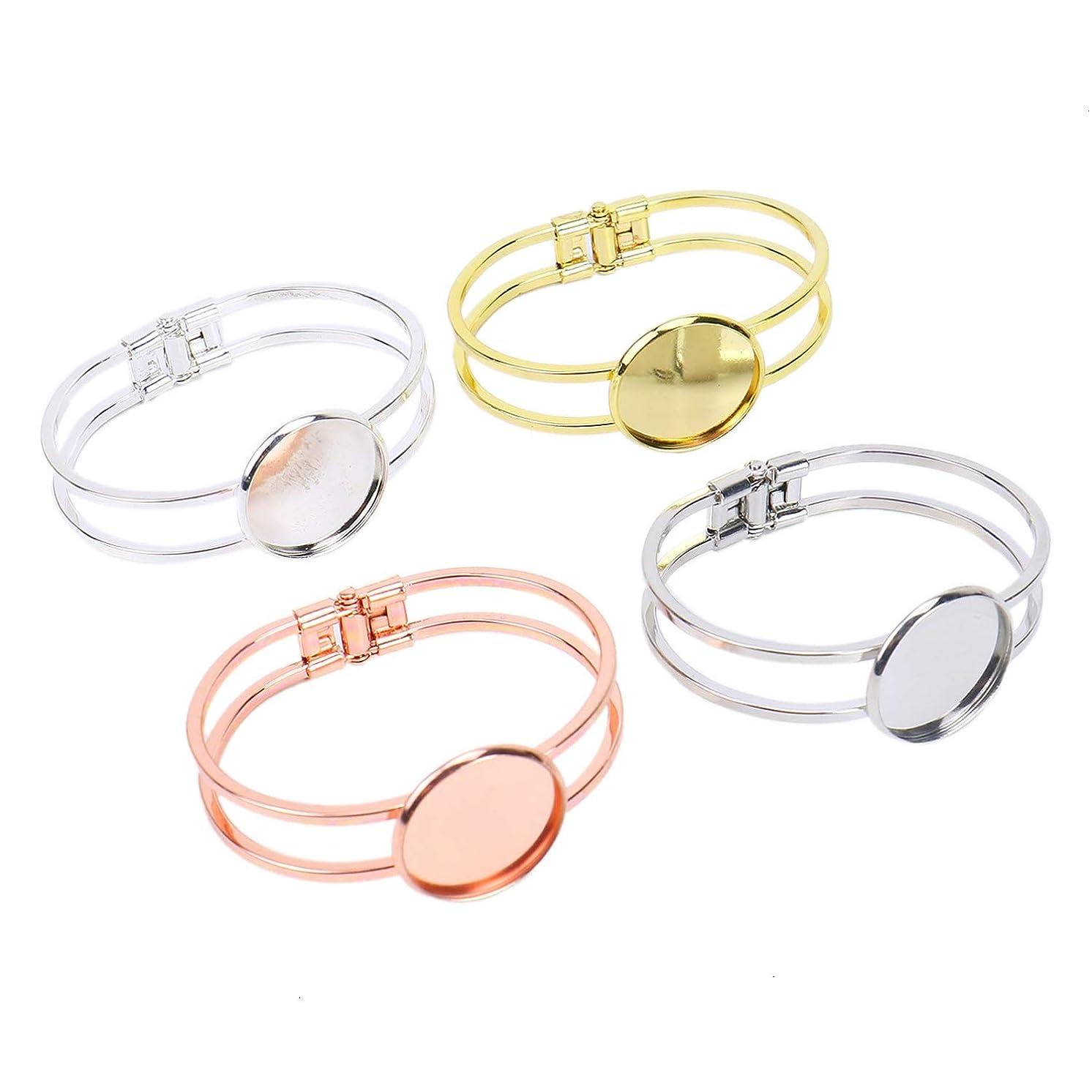 Monrocco 4 pcs Brass Cuff Bracelet Bangle Blanks Fit 25mm Cabochon Cameo Settings Bezel Tray Jewelry Making