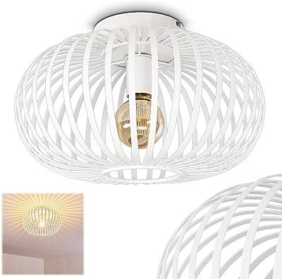 Plafonnier Lepa rond en métal blanc - Abat-jour sphérique créant un jeu de lumière au plafond - Pour chambres à coucher - couloir - salle de séjour