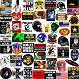 Welding Stickers 50+ MEGA PACK, Welders Stickers and Decals, Funny Stickers for Welding Helmet Hood, Hard Hat & Tool Box Stickers, Make People Laugh at Work