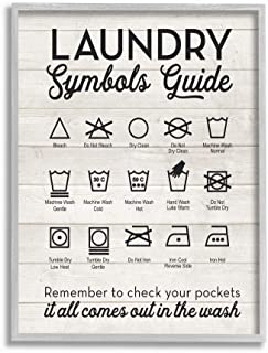 Stupell Industries Laundry Symbols Guide Typography Gray Framed Wall Art, 11x14, Multi-Color