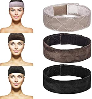 sansheng 3PCS Wig Grip Flexible Velvet Headband Scarf Head Hair Band Extra Hold Wig Adjustable Fastern,Stretch Cotton headband(3 colors)