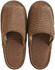 スリッパ インドコットン外縫い Lサイズ フェルト底 日本製 静音 メンズ 約27cmまで ブラウン