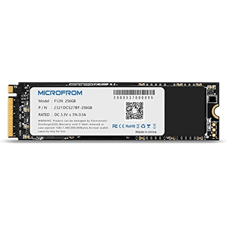 MICROFROM 256GB F12N M.2 SSD NVME PCIe SSD Internal Solid State Drive PCIe Gen3X4, M.2 NVMe 1.3, SSD M.2 TCL NAND Flash Up to Read/Write 2,650/1,350MB/s for PC Gaming Laptop