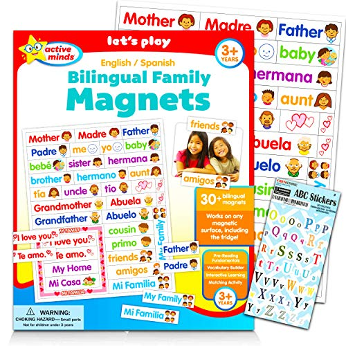 Learning Toys Bilingual Set Spanish Magnets for Kids Toddlers - 30pc Bilingual Toys Spanish English Magnets for Fridge with ABC Stickers (Language