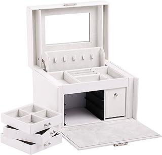 Black White Girls Jewellery Gift Box Rings Necklace Storage Organizer Lockable 44 (White)