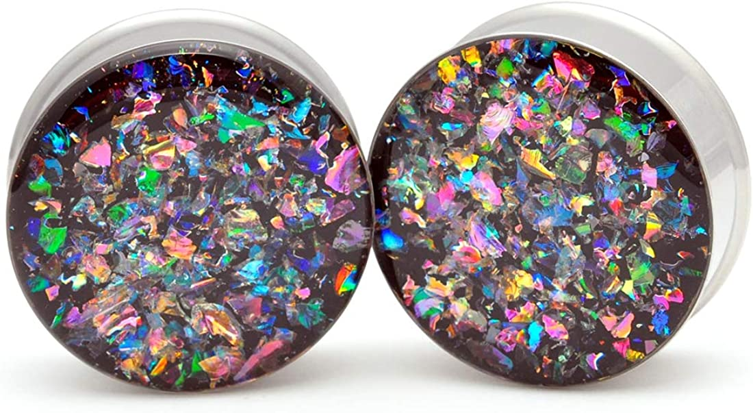 Mystic Metals Body Jewelry Large Gauge Embedded Dichroic Glass Plugs - Sold As a Pair