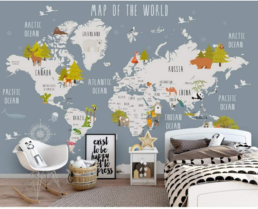 Children's Room Wall Papers Cartoon map M Photo World Paper Max 60% OFF Raleigh Mall