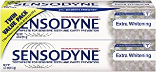 Sensodyne Sensitivity Toothpaste, Extra Whitening, for Sensitive Teeth, 24/7 Protection, 4 ounce (Pack of 2)