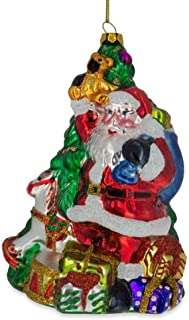 BestPysanky Santa with Gifts by Christmas Tree Glass Christmas Ornament