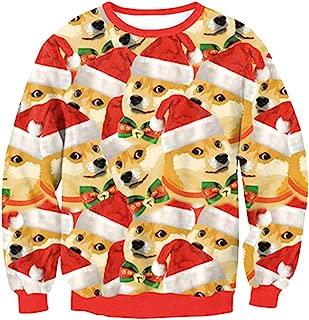 YLCOYO Christmas Costumes Women's Winter Christmas Long Sleeve O Neck Sika Deer Print Casual Blouse Tops