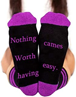 Vxhohdoxs Unisex Funny Saying Stripes Socks Nothing Worth Having Cames Easy Letter Hosiery