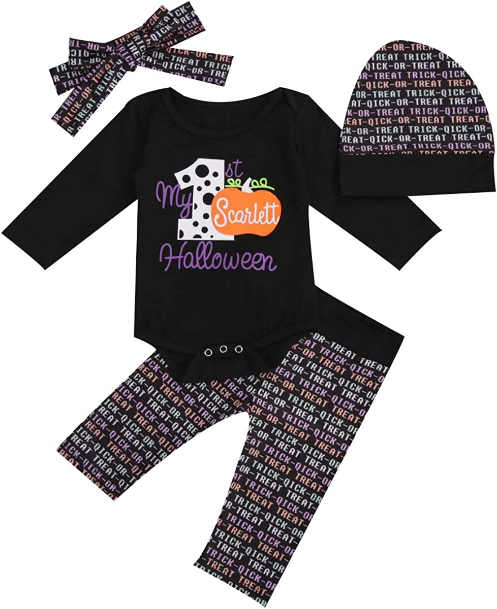 4PCS Infant Baby Boy Halloween Romper Pumpkin Long Sleeve Jumpsuit+Pants+Hat+Hairband Clothes Set