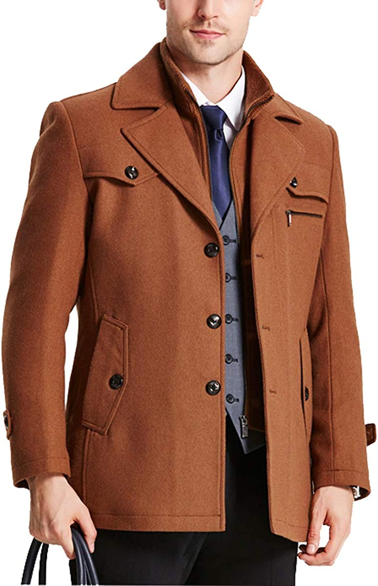 Qinni-shop Translated Men Winter Stand Collar Blend Breasted Single Mi trust Wool