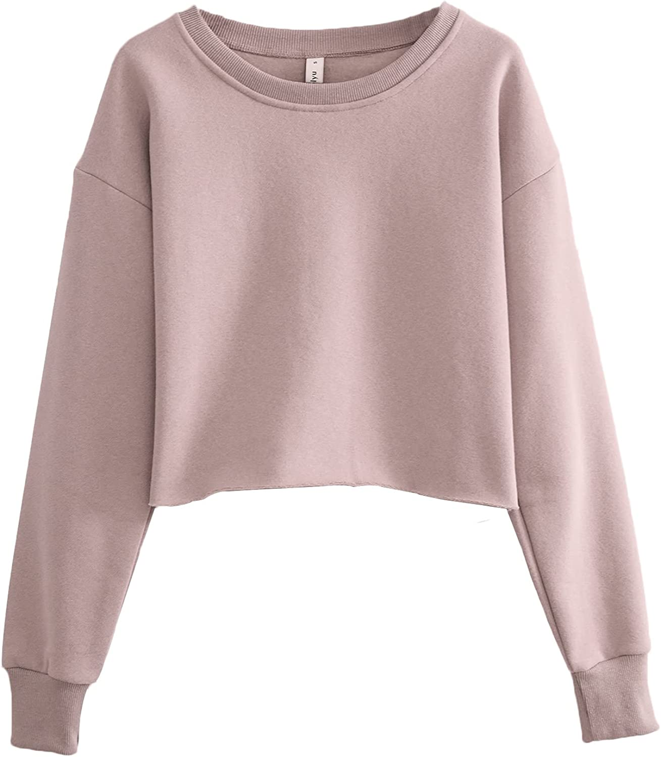 Amazhiyu Women's Pullover Cropped Hoodie Casual Fleece Crop Top for Fall Winter