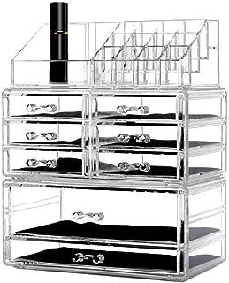 DreamGenius Makeup Organizer 3 Pieces Acrylic Cosmetic Storage Drawers and Jewelry Display Box Transparent-B