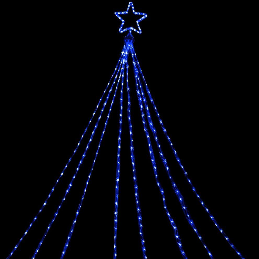 満足できる数学者探偵電光ホーム イルミネーション ドレープライト LED [ 8パターン 点灯 ] 屋外 防水 防雨 星モチーフ付き クリスマスツリー ハロウィン DIY 3.5m×8本 (ブルー)