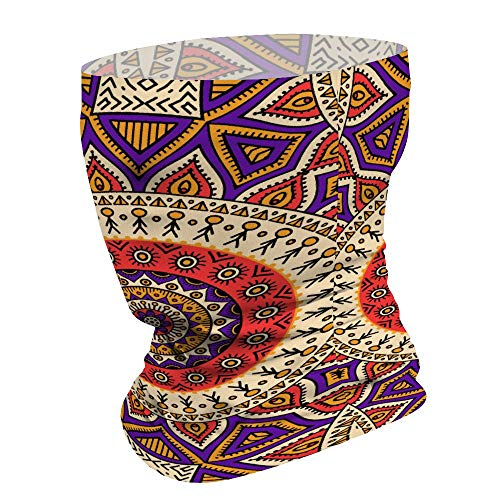 Yilooom Brown Bohemia Style, Seamless Face Mask Bandanas, Unisex Face Scarf for Outdoor Dust Wind Sun Protection