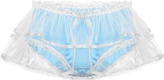 Alvivi Men's Smooth Satin Panties Crossdress Thongs Underwear Lingerie Double Layers Mesh Maid Knickers